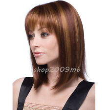 40cm Synthetic Bob Wig Women's Short Straight Full Hair Wigs Cosplay Black Brown