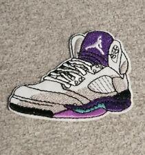 Patch écusson sneakers air jordan 5 grape transfert thermocollant brodé