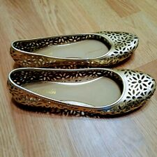 Kenneth Cole Reaction gold Leather Flat Shoes, 8.5
