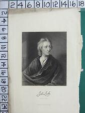 C1840 Antiguo impresión ~ John Locke ~ Firma Facsímil