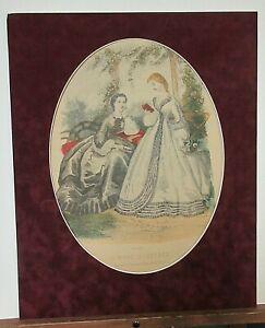 La Mode Illustree Leroy.Imp.Paris Vintage suede matted print 16 x 20 with backin