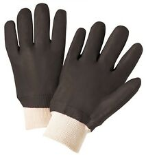 PVC Gloves with Sandpaper Finish and Knit Wrist, Sold by Dozen - Men's Size