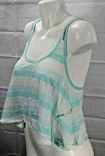HOLLISTER jrs aqua white stripe drapey fit cami tank top size L NWT