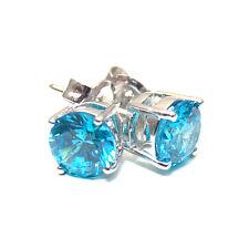 Diamond-Unique 4 Claw Blue Topaz Studs Sterling Silver