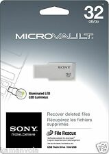 New Sony 32 GB Micro Vault USB 2.0 USM32GM/W M-Series Compatible w Windows & Mac