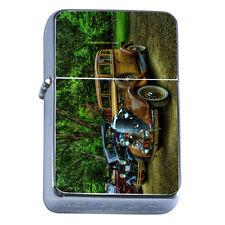 Windproof Refillable Flip Top Oil Lighter Vintage Car D4 Classic Antique