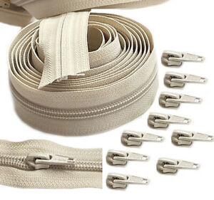 Continuous Chain Zipper YKK #5 Nylon Coil by The Yard with Slider Make-A-Zipper