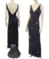 JIKI Gown Black Jersey Silk Embellished Sleeveless Dress 38 US 2