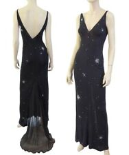 JIKI Gown Black Jersey Silk Embellished Sleeveless Dress 38 US 2