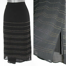 MONSOON Black Silk Beaded Split Sides Shorter Front Hem Formal Midi Skirt UK 12