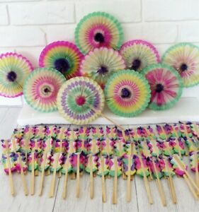 Vintage Rainbow Honeycomb Tissue Paper Party FANS Lot of 60