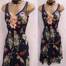 EXQUISITE KAREN MILLEN  NAVY FLORAL SILK SALSA FRILL COCKTAIL DRESS 10 UK