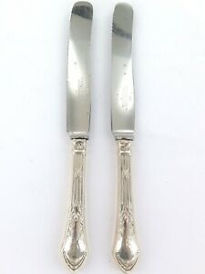 .1921 - 1963 GERLACH, POLAND .800 SILVER HANDLES 2 SERRATED KNIVES.