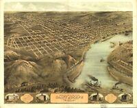 A4 Ristampa Di Americana Città Paesi Stati Mappa Saint Joseph Missouri