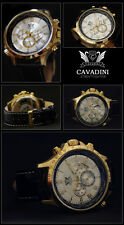 LUXURY CHRONOGRAPH CAVADINI WATCH TACHYMETER SWIVELLING RING IP-GOLD PLATED NEW