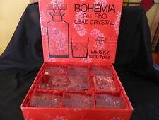 BOHEMIA LEAD CRYSTAL WHISKY SET FLOWER PATTERN DECANTER/6 GLASSES NIB