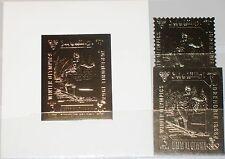 UMM al QIWAIN 1968 A 242 A-B Block A 12 Winter Olympics Grenoble Gold Foil MNH
