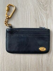 Dunhill Vintage Leather Black Zip Coin Wallet Purse