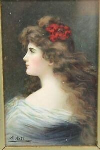 Vintage Framed Signed Postcard by Angelo Asti Early 1900s 27 x 22cm