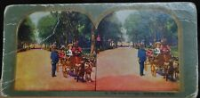 "Antique Stereograph Card - #15, ""The Goat Carriage, Driving in the Park""- 1900's"