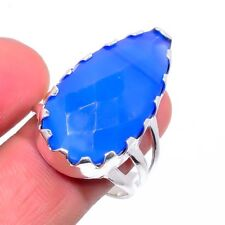 Blue Onyx Gemstone Ethnic Silver Fashion Jewelry Ring Size 9 SR-218