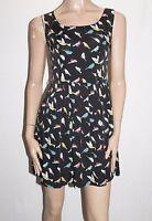 Iska London Brand Black Bird Print Sleeveless Shift Dress 10 BNWT #SR71