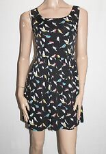 Iska London Designer Black Bird Print Sleeveless Shift Dress 10-S BNWT #SR71