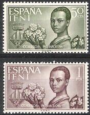 SPANISH COLONIES IFNI 1963 BARCELONA AID INDIGENOUS CHILD 198 - 199 FINE MNH