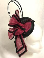 Hot Pink with Black Trim,Small Fascinator Hat,Headband,Races,Weddings,Formals