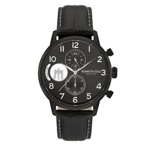 Kenneth Cole New York Mens Chronograph Black Leather Strap Watch KC51019022