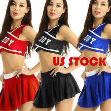 US Sexy Womens Cheerleader Outfit Cosplay Fancy Dress Crop Tops Mini Pleat Skirt