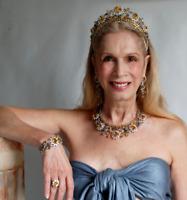 Victorian Style Rose Cut Diamond Bracelet,Ring &Tiara Yellow Topaz Necklace Set