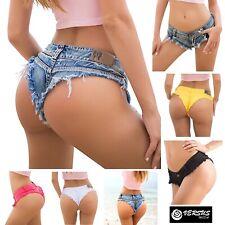 Mini Pantaloncini Jeans Donna Tipo Costume Brasiliano Coachella Shorts JEA022
