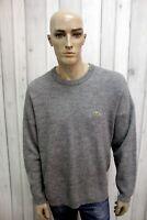 LACOSTE Maglione XL Uomo Taglia 6 Grigio Lana Casual Pull Pullover Sweater
