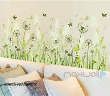 Green Dandelion Butterfly Wall Border Decals Removable Window Sticker kids decor