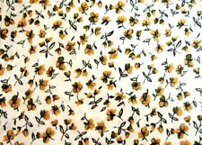 2 Yards of Cream with Brown and Tan Flowers Cotton Quilting Fabric