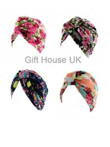 FLORAL PRINT LADIES STRETCHY INDIAN TURBAN PLEATED HEAD WRAP CHEMO CLOCHE