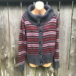 Eddie Bauer Fair Isle Wool Angora Blend Sweater Button Front Cowl Neck Women's L