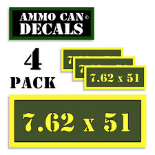 "7.62 X 51 Ammo Can 4x Labels Ammunition Case 3""x1.15"" stickers decals 4 pack AG"