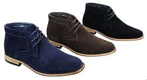 Chaussures hautes homme simili daim bleu marine noir marron avec lacets