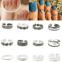 12x/set Celebrity Retro Vintage Adjust Jewelry Silver Open Toe Finger Foot Rings