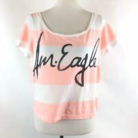 American Eagle Outfitters Womens Cotton Blend Striped Crop Top Size Large