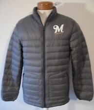 NWT Majestic Milwaukee Brewers Mens Down Jacket S Dark Grey MSRP$