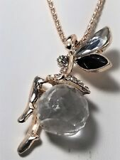 Betsey Johnson Jewelry Fairy Black & Clear Crystal Wings Sitting On Crystal NWT