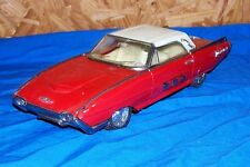 """Old Friction Motor Toy Car Ford Thunderbird 10"""" Vehicle Vintage Automobile Red"""