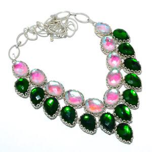 "Rainbow Mystic Topaz 925 Sterling Silver Jewelry Handmade Necklace 17.99"" M1495"
