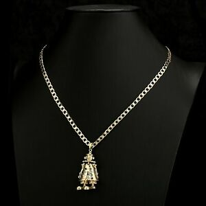 Gold GF Large 3D Clown Pendant with 4mm 24 inch Cuban Chain