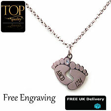 Baby Foot Pendant Personalised Name Necklace, 18K White Gold Plated, Gift, UK