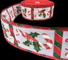"5 Yds Christmas Candy Canes Holly Candy Cane Striped Wired Ribbon 2 1/2""W"