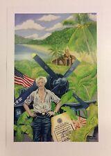 """WWII Print From Original Chalk Pastel F4U Guam """"Keeper of the Corsair"""" 13""""x19"""""""